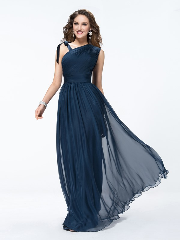 Style Ruched A-Line Straps Evening Dress