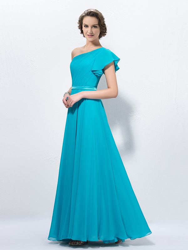 New A-line One-Shoulder Cap Sleeve Floor-Length Bridesmaid Dress