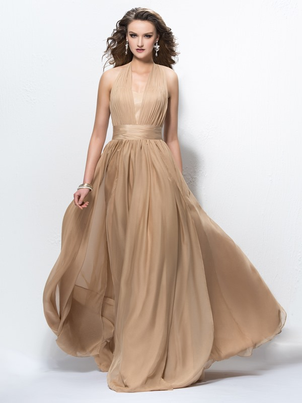 Halter Pleats V-Neck A-Line Evening Dress