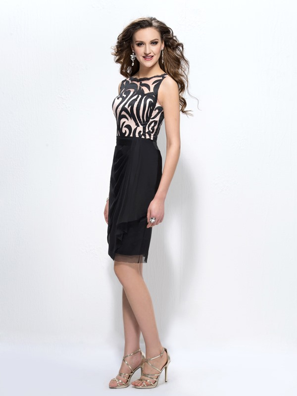 Fashion Office Lady Pattern Straps Sheath/Column Short Formal Dress