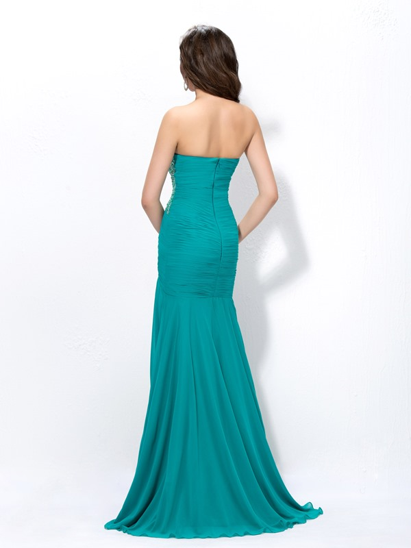 Graceful Sweetheart Sheath Beading Split-Front Ruched Long Evening Dress