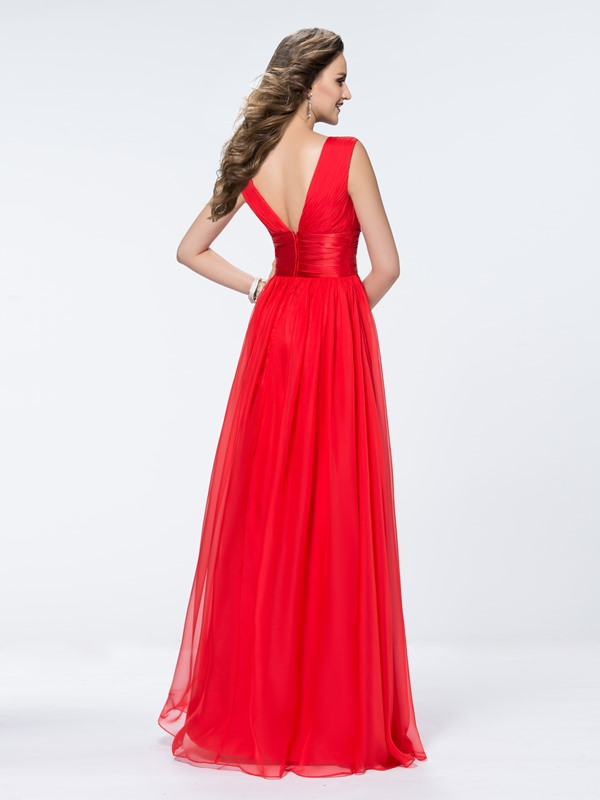 Simple A-Line Floor-length Deep V-Neck Empire Waistline Zipper-up Evening Dress