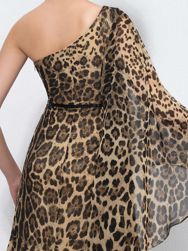Leopard-Print One-Shoulder Evening Dress