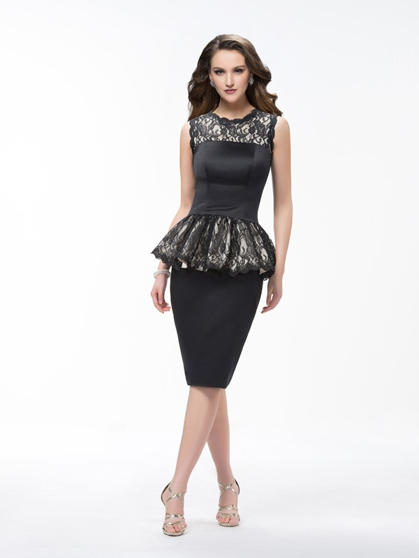 Sheath Knee Length Scoop Lace Ruffles Sleeveless -up Formal Dress