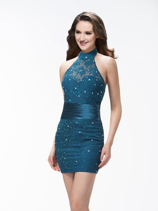 Sheath Halter Beadings Lace Short/Mini Formal Dress