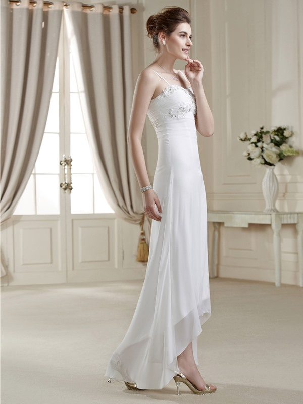 Loveable A-line Asymmetry Spaghetti Strap Sequins Wedding Dress