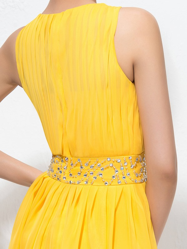A-Line Jewel Neckline Ruched Beading Short Homecoming Dress