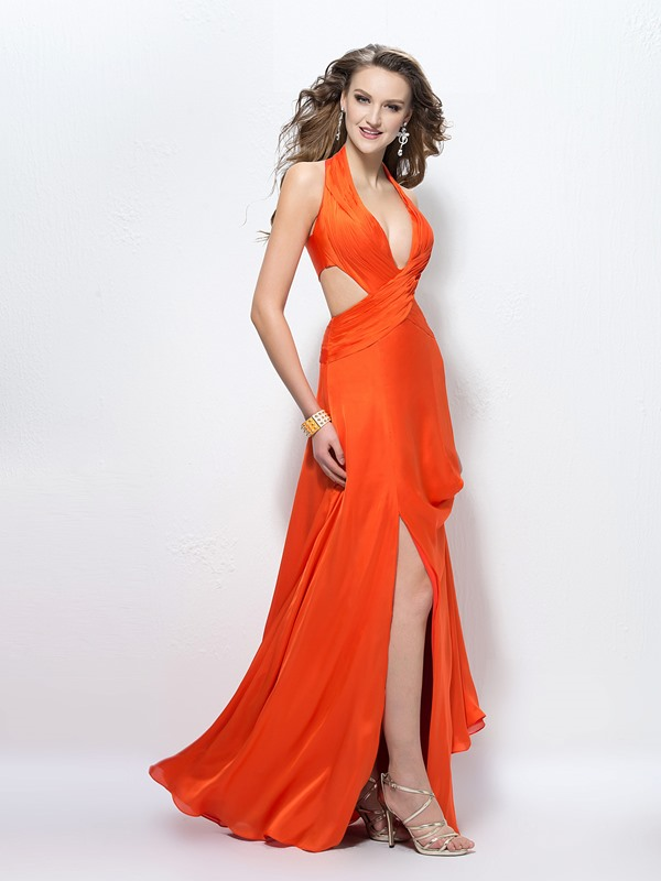Halter Split-Front A-Line Ruched Evening Dress