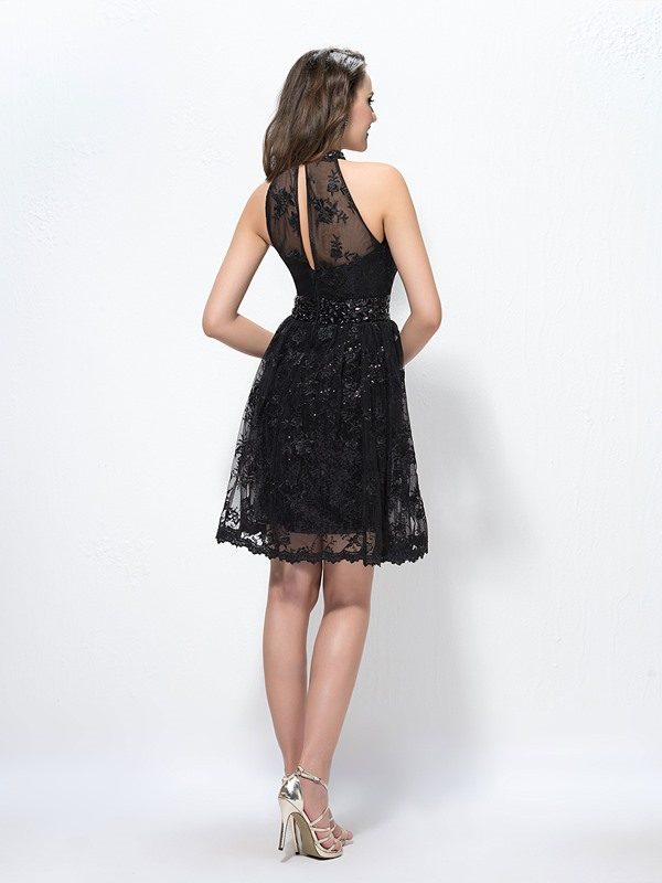 High-Neck Lace Beading Cocktail Dress