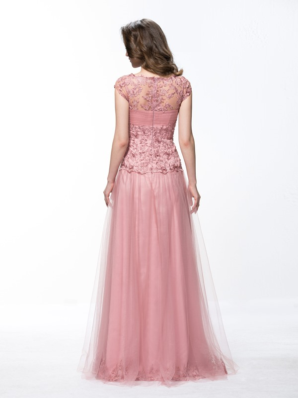A-Line Appliques Sweetheart Cap Sleeves Long Evening Dress Designed