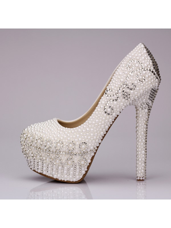 Romantic Crystal Closed Toe Stiletto Heel Pearl Wedding Shoes