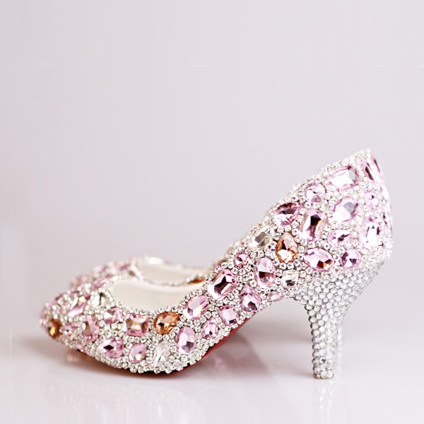 Enchanting Crystal Beak Closed Toe Pink Wedding Shoes