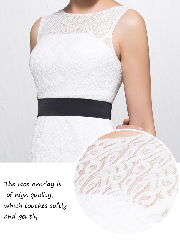 Lace Short Sashes/Ribbons Bateau Neckline Straps Homecoming/Bridesmaid Dress