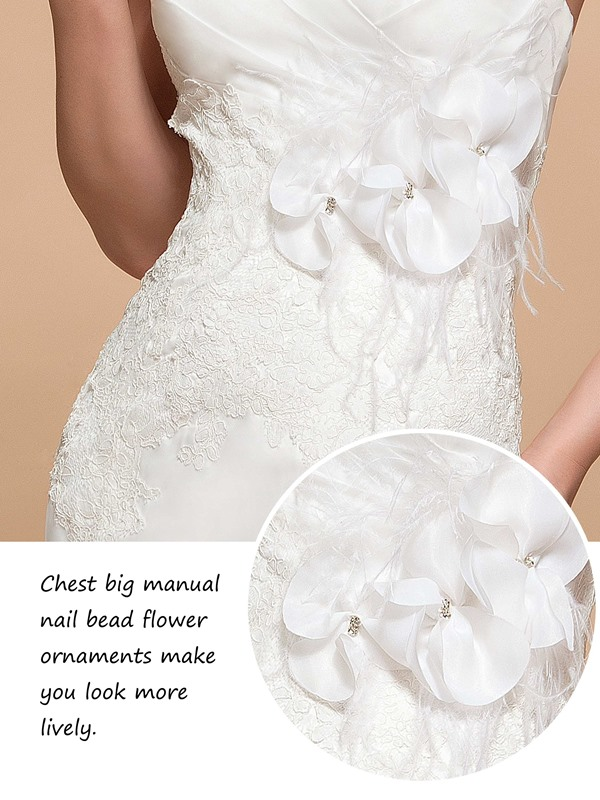 Amazing Court Train Flowers Sweetheart Trumpet Button Wedding Dress