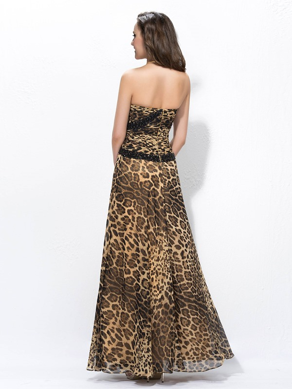 Sexy A-Line Floor-length Sweetheart Split-Front Leopard Print Beading Evening Dress
