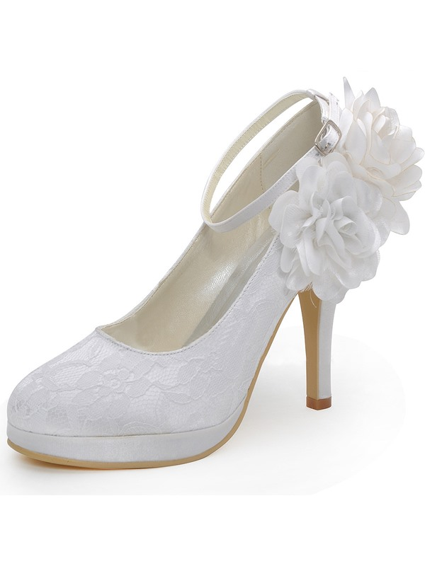 Lace Closed Toe Flowers Stiletto Heel Wedding Shoes