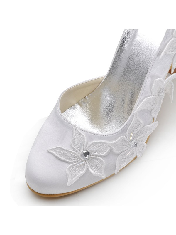 Lace Flowers Crystal Closed Toe Stiletto Heel Wedding Shoes