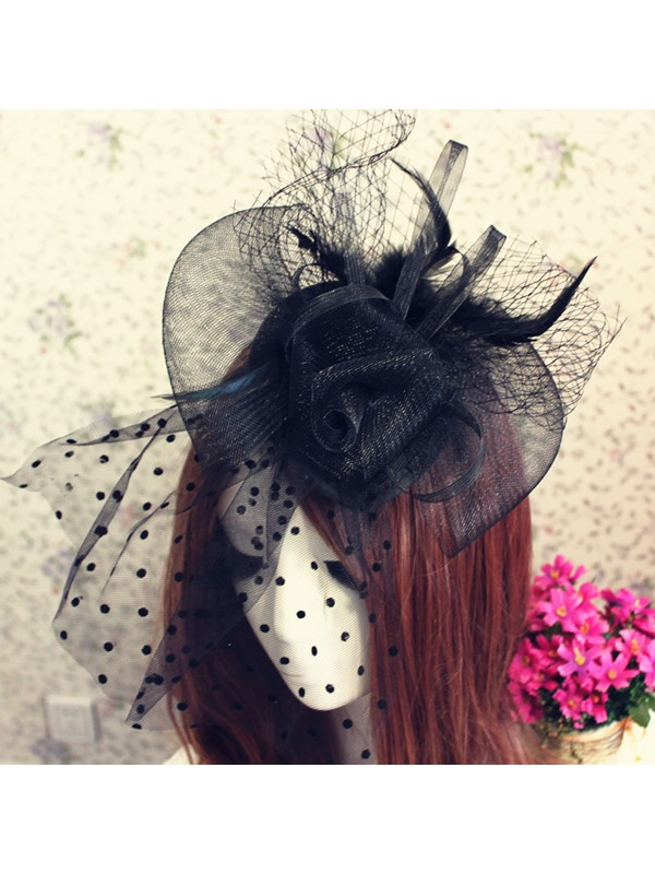 Enchanting Black Feather Hairpin Veil Bride Hair Flower