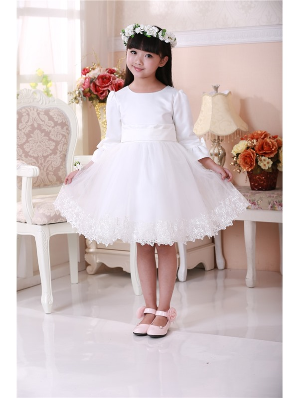 Cute Scoop Bowknot Sash Knee Length Long Sleeves Flower Girls Dress(Free Shipping)