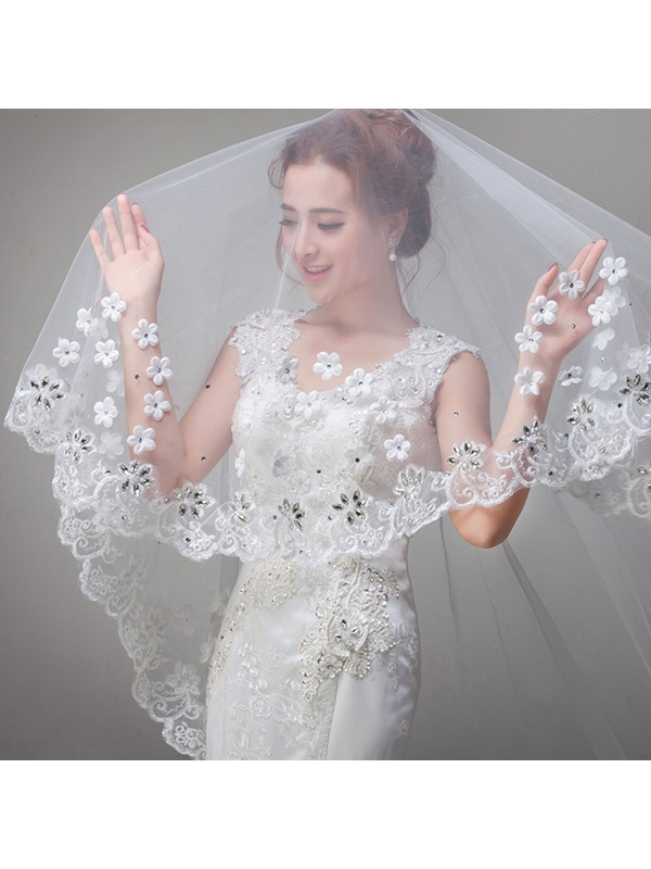 Luxurious Flowers Crystal Applique Wedding Veil