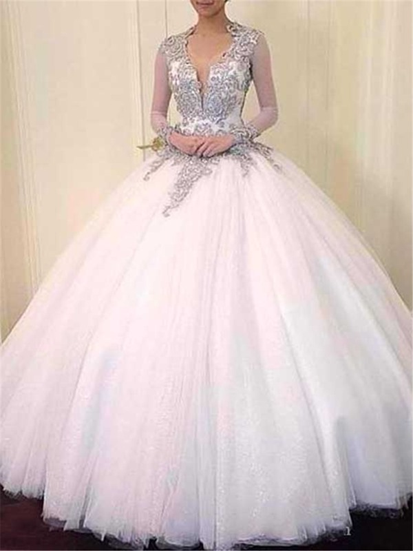 Ball Gown Beaded Backless Long Sleeves Wedding Dress