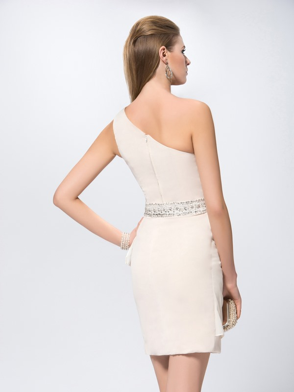 Sheath Short/Mini Sash Lace One Shoulder Sequins Formal Dress