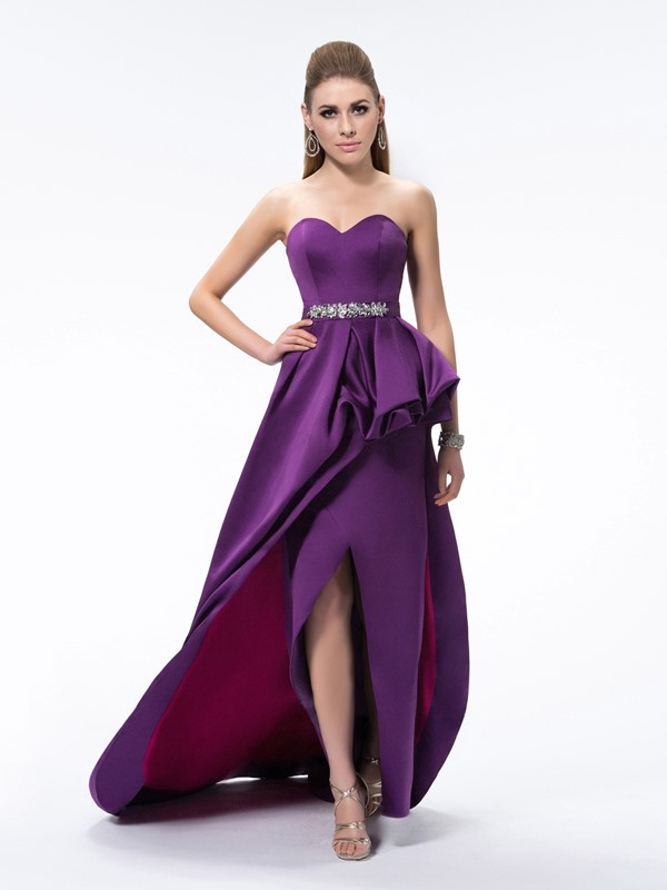 A-Line Split-Front Pick-ups Sweetheart Beading Sweep Train Evening Dress