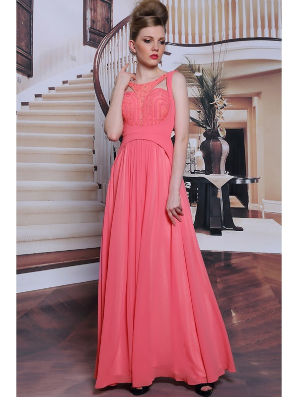 Trendy Beading Scoop Lace A-Line Floor Length Evening/Prom Dress