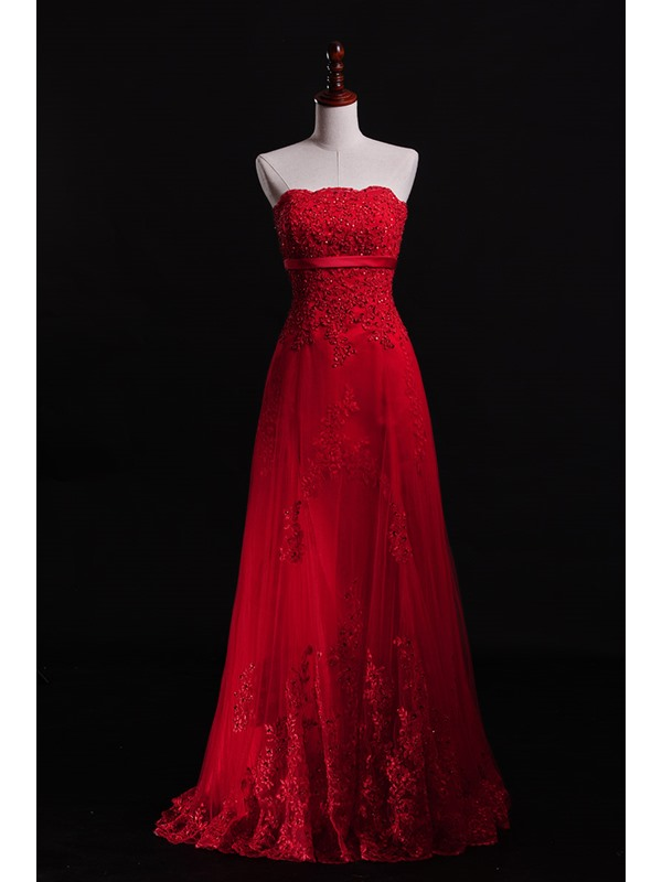 Charming Strapless Appliques Sequins Lace-up Floor-Length A-Line Evening Dress