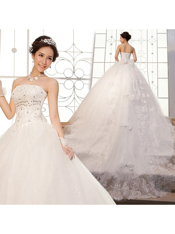 Luxurious Floor-length Strapless A-Line Lace-up Beading Wedding Dress