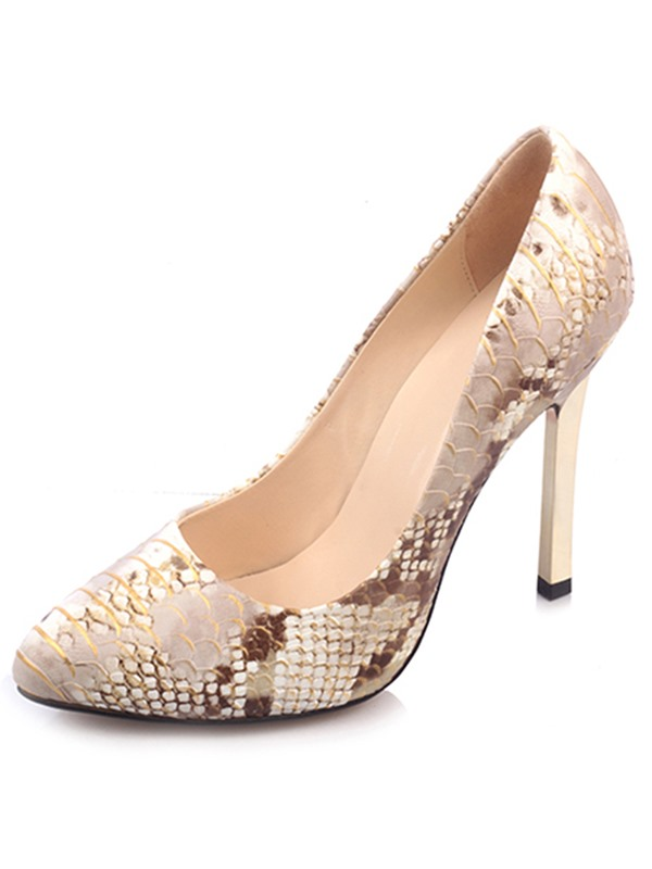 SnakeSkin Print Point Toe Stiletto Heel Pumps