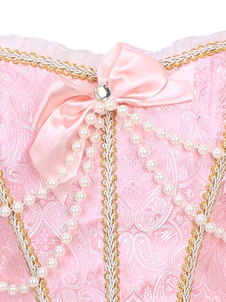 Bowknot Floral Double-deck with Beading and Short Sleeve Corset