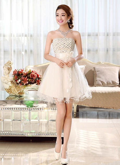 Pretty A-Line Strapless Flowers Lace-up Short-Length Sweet 16 Dress