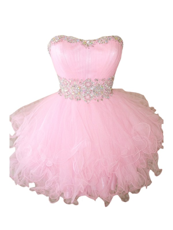 Ball Gown Sweetheart Beading Lace-up Short Sweet 16 Dress