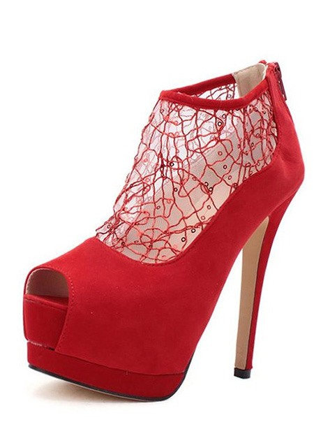Bright Peep Toe Net With Paillette Stiletto Heel Pumps