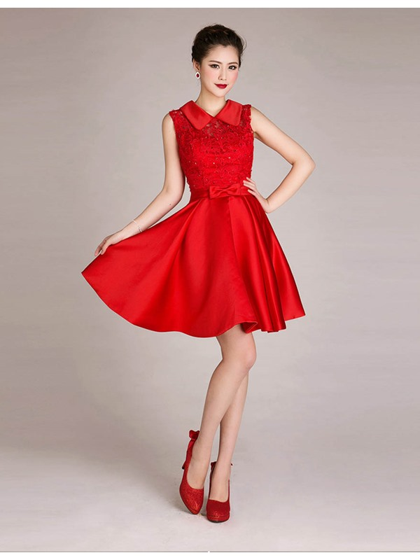 A-Line Lace Bowknot Sequins Short Sweet 16 Dress