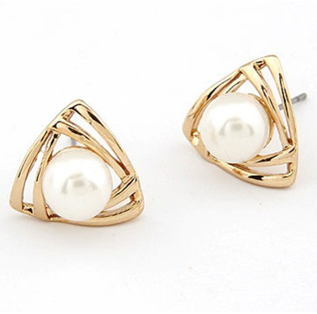 Chic Triangle Golden Alloy Pearl Women Earrings