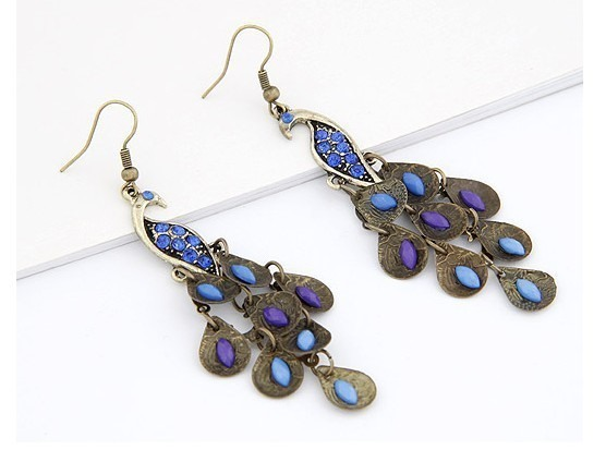 Pretty Retro Bohemian Crystal Peacock Alloy Women's Earrings
