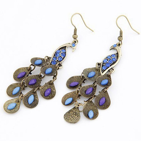 Pretty Retro Bohemian Rhinestone Peacock Alloy Women's Earrings