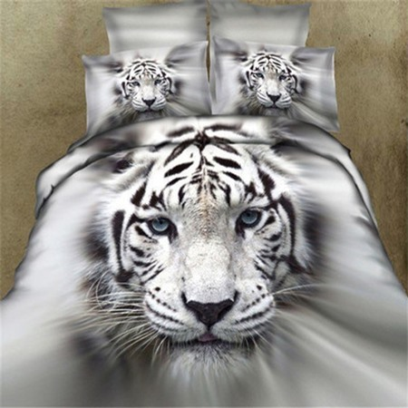 Cool Tiger Print 4 Pieces Cotton Bedding Sets(Free Shipping)
