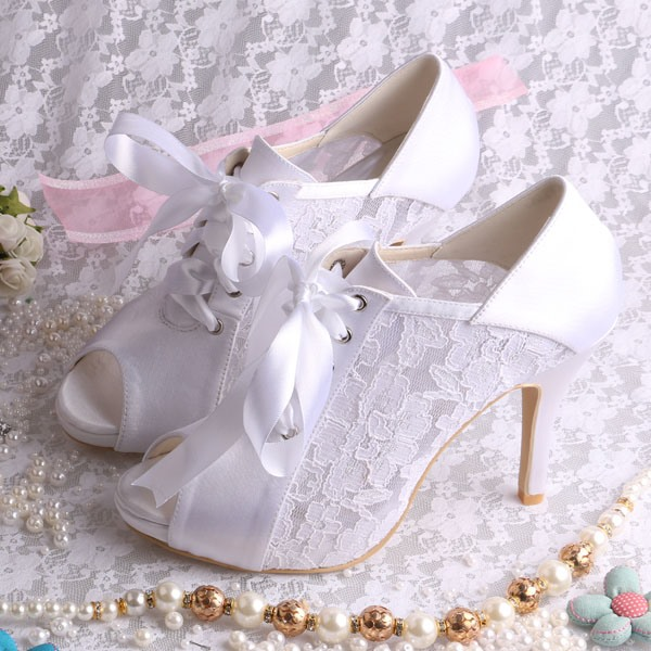 High-Level Stiletto Heel Satin Open Toe Lace Wedding Shoes