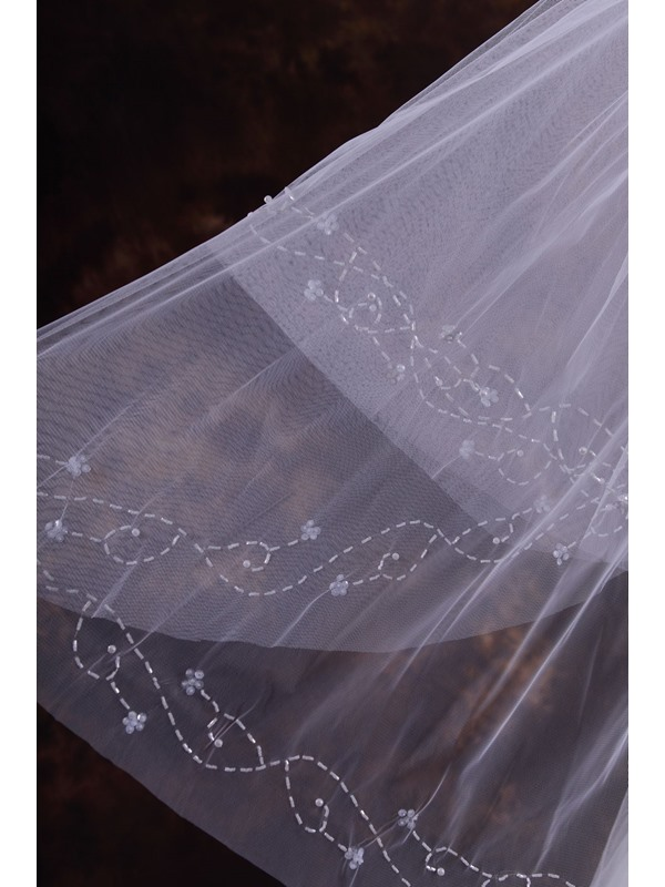 2-Layer ElbowWedding Veil With Beading Edge