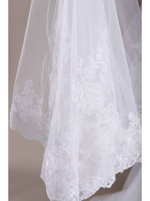 Wonderful Chapel Length Wedding Veil Applique Edge