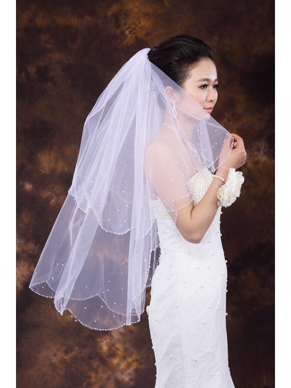 Cute Fingertip Length Beading Wedding Veil