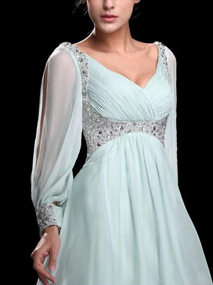 Graceful A-Line V-Neck Beading Empire Waist Long Sleeves Floor-Length Evening Dress