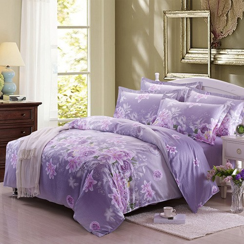 Light Purple Flowers Print Pure Cotton 4-Piece Bedding Sets