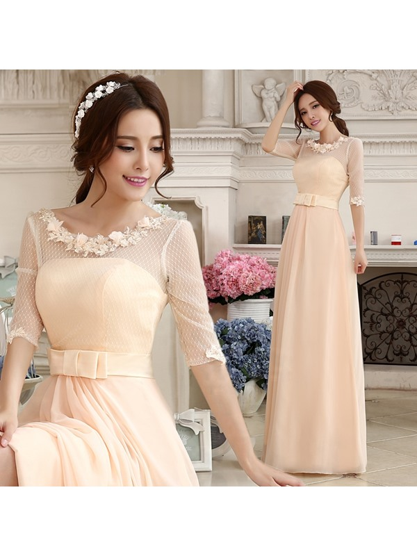 Charming Lace Appliques Half Sleeves Zipper-up Floor-Length Prom Dress(Free Shipping)