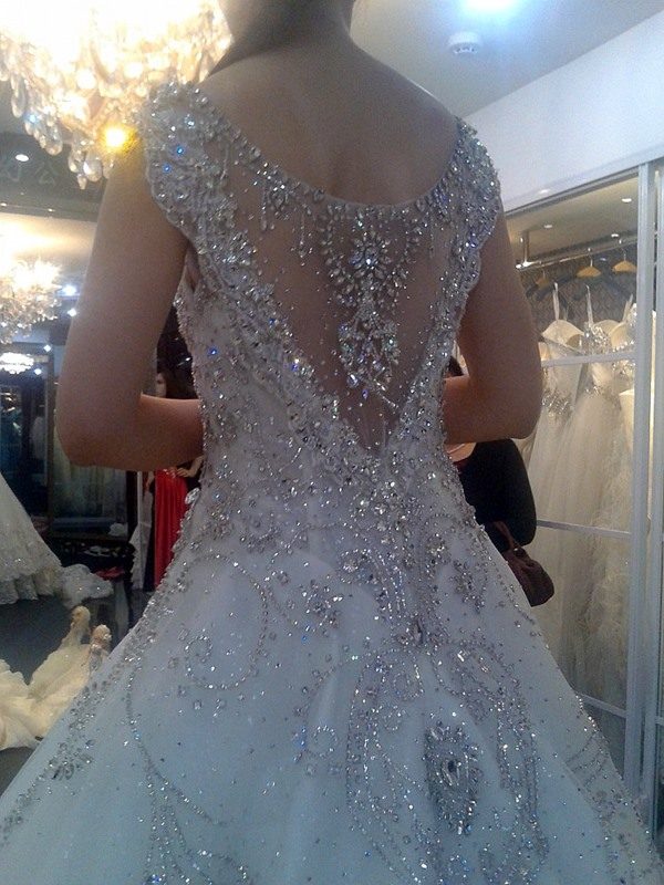 Luxurious Rhinestone Beaded V-Neck Cathedral Wedding Dress