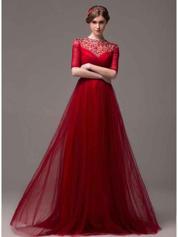 Vintage A-Line Jewel Neck Beading Half Sleeves Lace-up Long Evening Dress(Free Shipping)