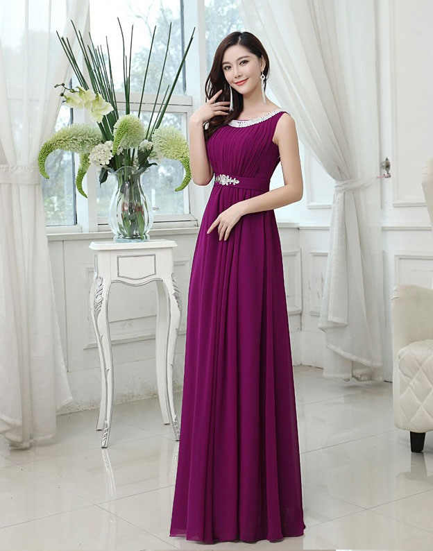 Scoop Neck Ruched Beading Bridesmaid Dress